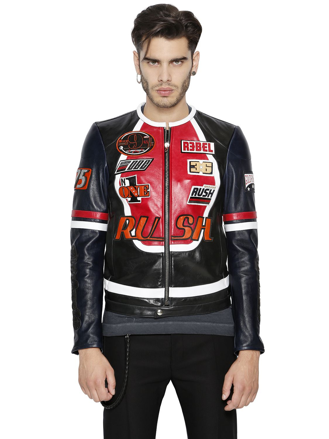 Leather jacket patches - Sel Black Gold Patches On Leather Moto Jacket In For Men