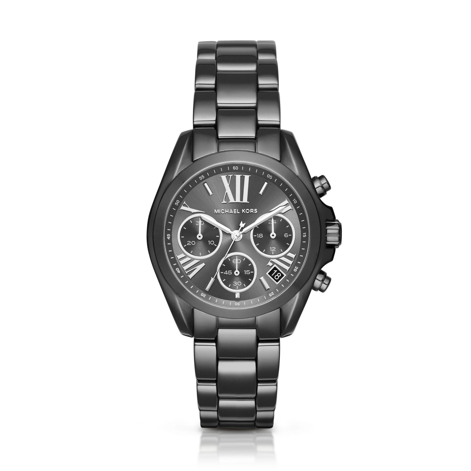 5888610d6bba Lyst - Michael Kors Mini Bradshaw Gunmetal-tone Watch in Black