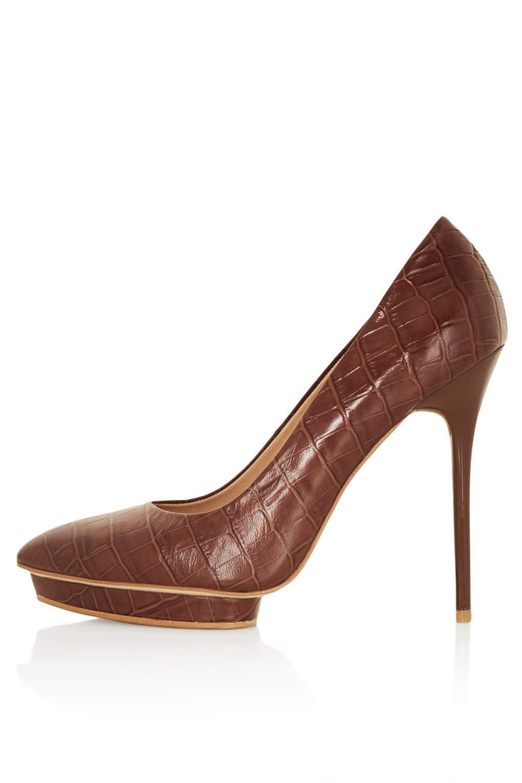 topshop soda croc platform court shoes in brown lyst