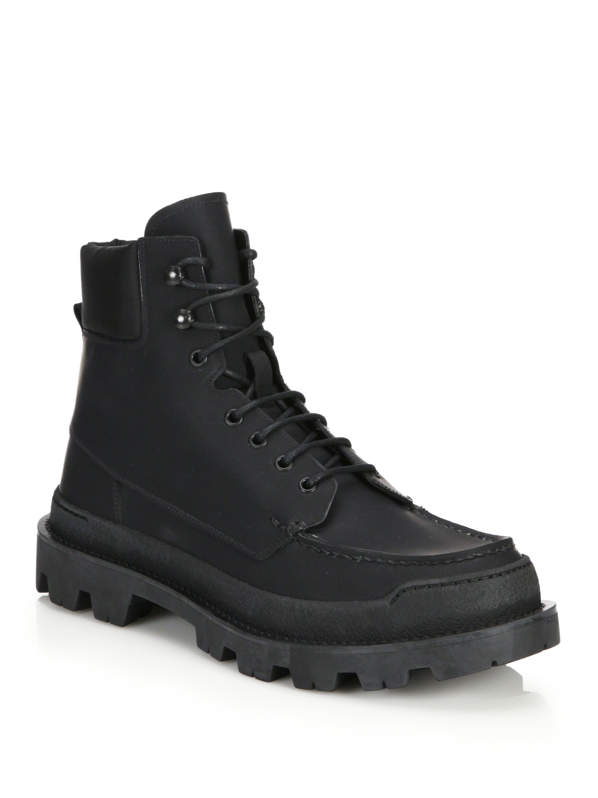 Prada Lug Sole Leather Hiking Boots in Black for Men | Lyst