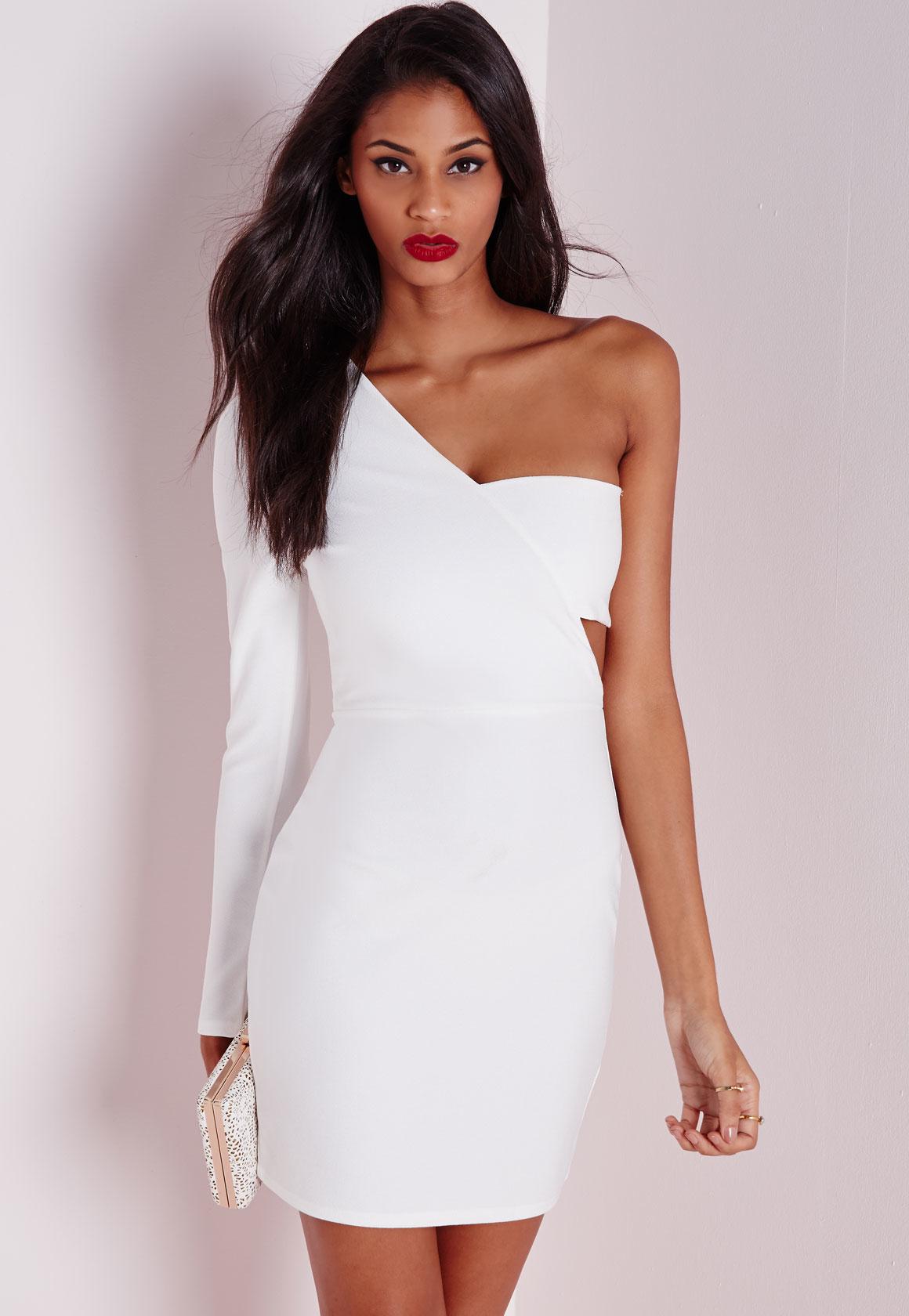 Boohoo white bodycon dress one shoulder labor day sale