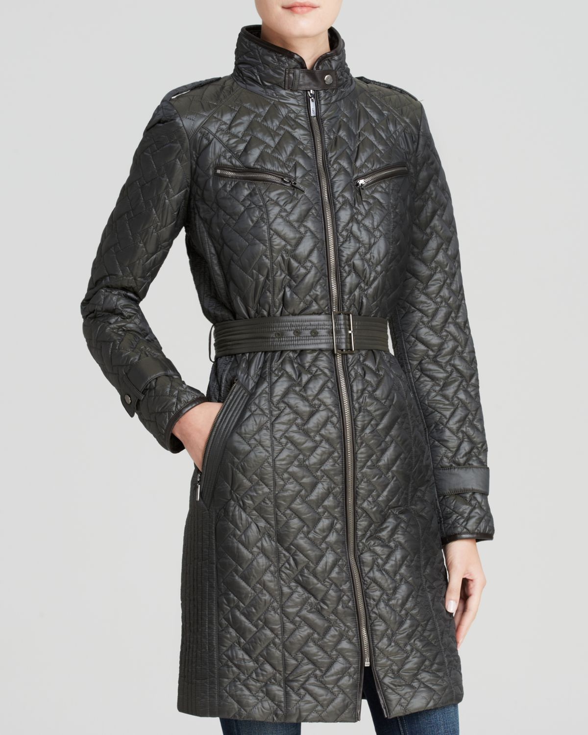 Lyst Cole Haan Coat Signature Quilted Belted Faux