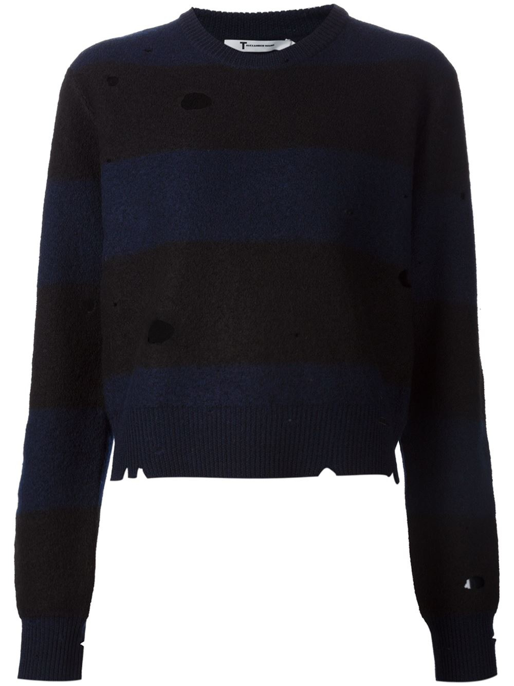 Alexander wang Striped Sweater In Boiled Wool With Holes Allround ...