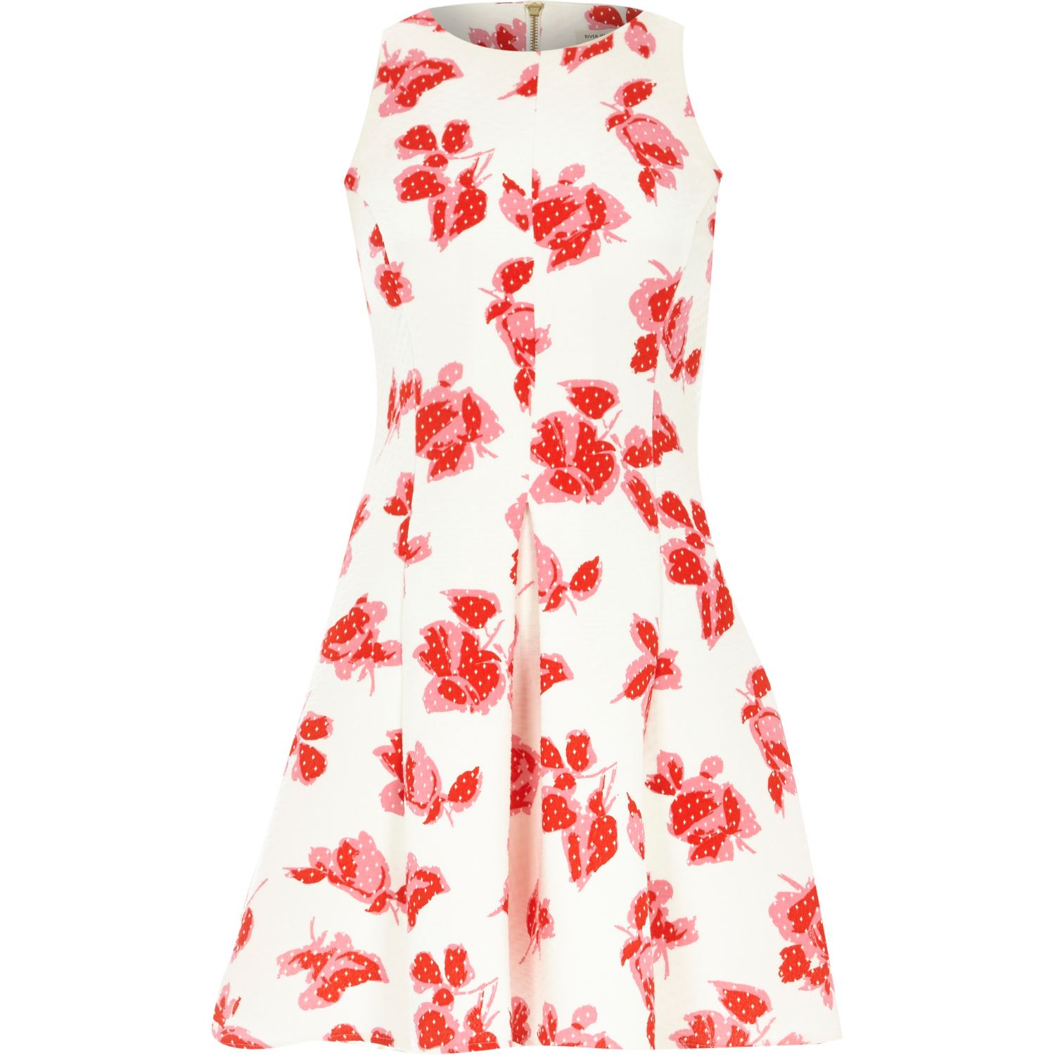 River Island White Floral Print Jersey Skater Dress In