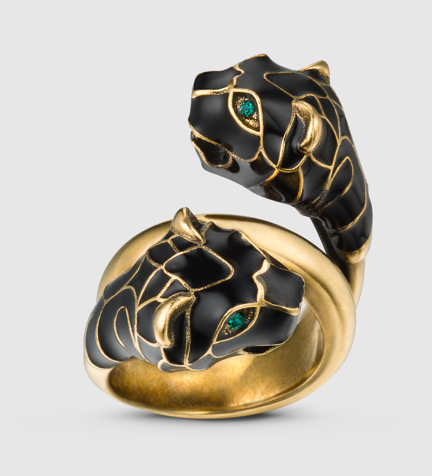 gucci tiger ring with black enamel in metallic lyst