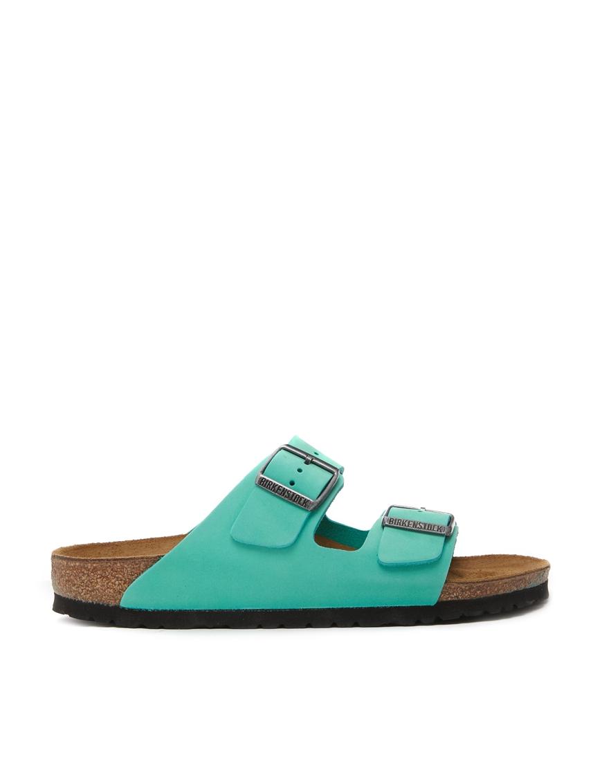 44b8f8fb83de Lyst - Birkenstock Arizona Leather Mint Green Flat Sandals in Green