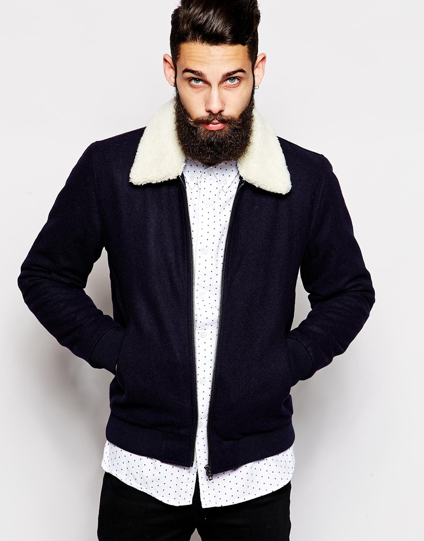 Asos Wool Harrington Jacket With Borg Collar In Blue For