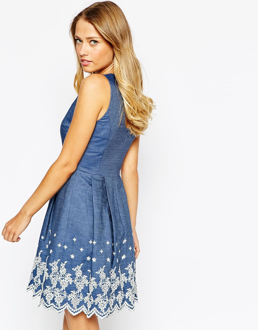 Lyst oasis broderie hem chambray dress in blue for Chambray dress