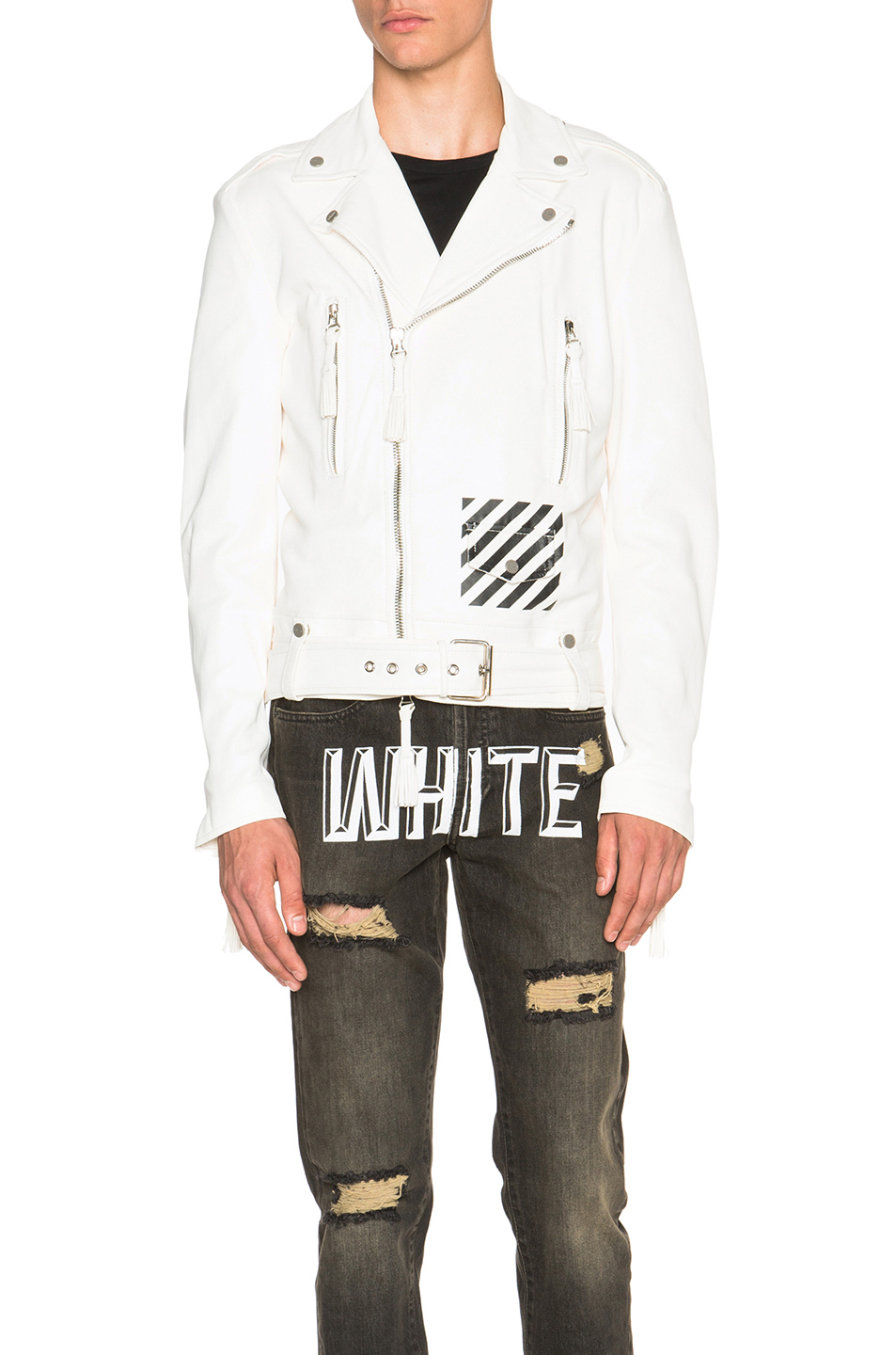 lyst off white c o virgil abloh leather outerwear in white. Black Bedroom Furniture Sets. Home Design Ideas