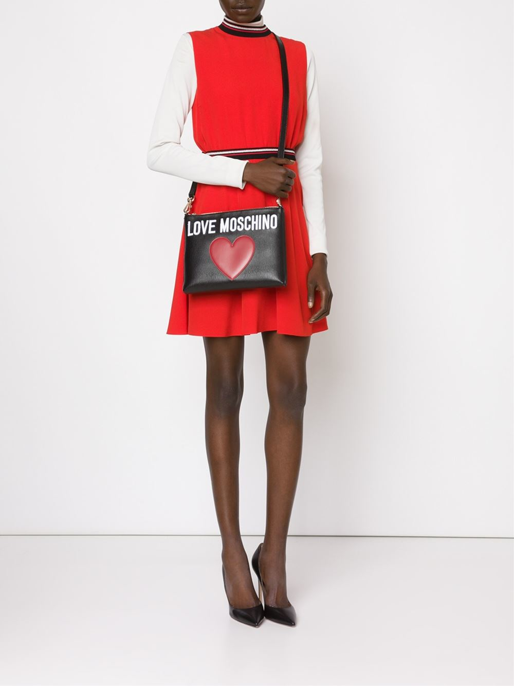 80c4d418e16d Lyst - Love Moschino Stitched Heart Cross-Body Bag in Black