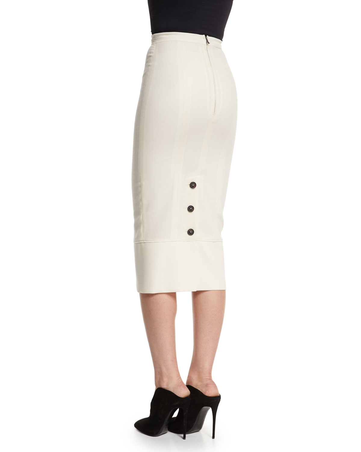 roland mouret galaxy fitted pencil skirt in white lyst