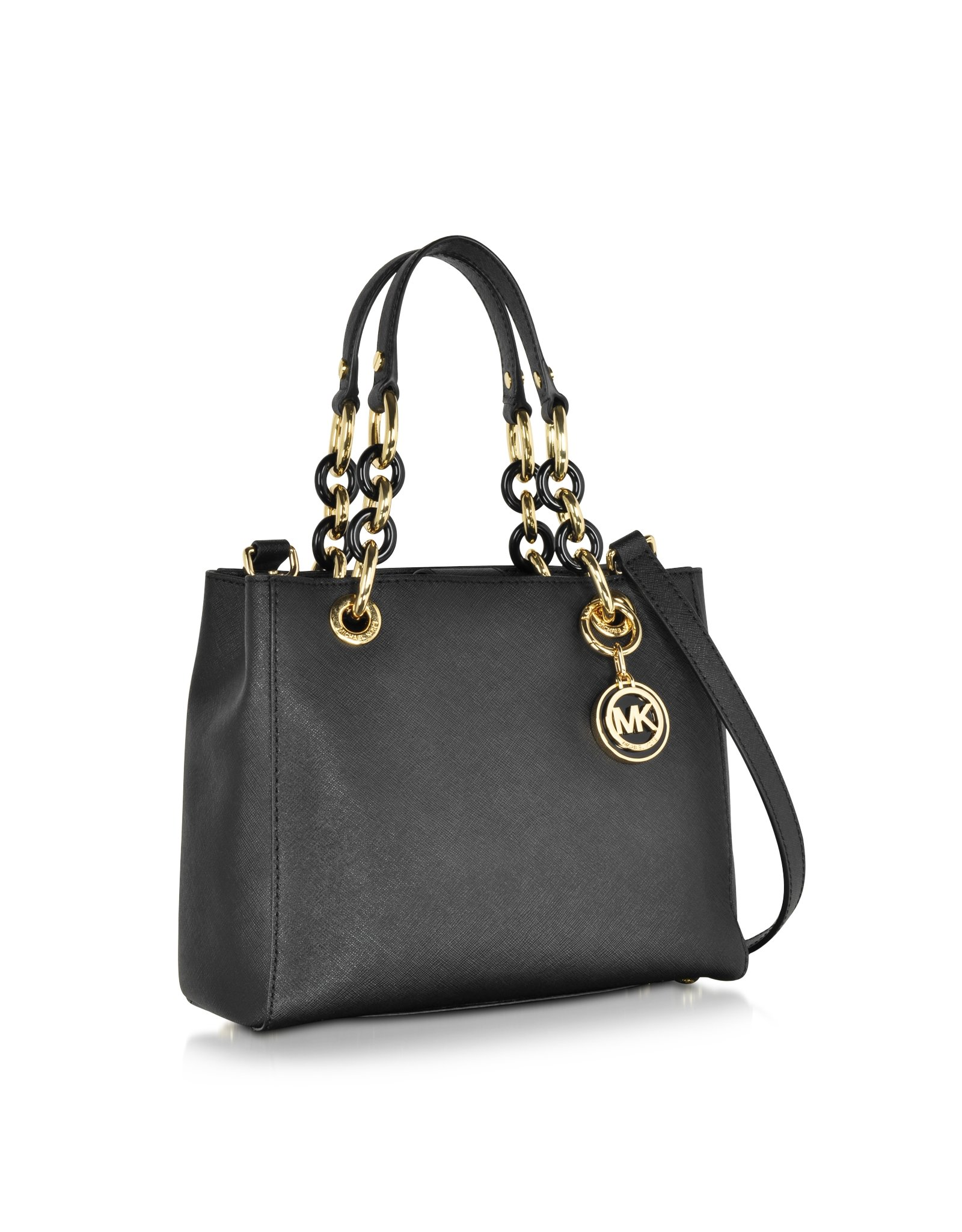 michael kors cynthia small saffiano leather ns satchel bag in black lyst. Black Bedroom Furniture Sets. Home Design Ideas