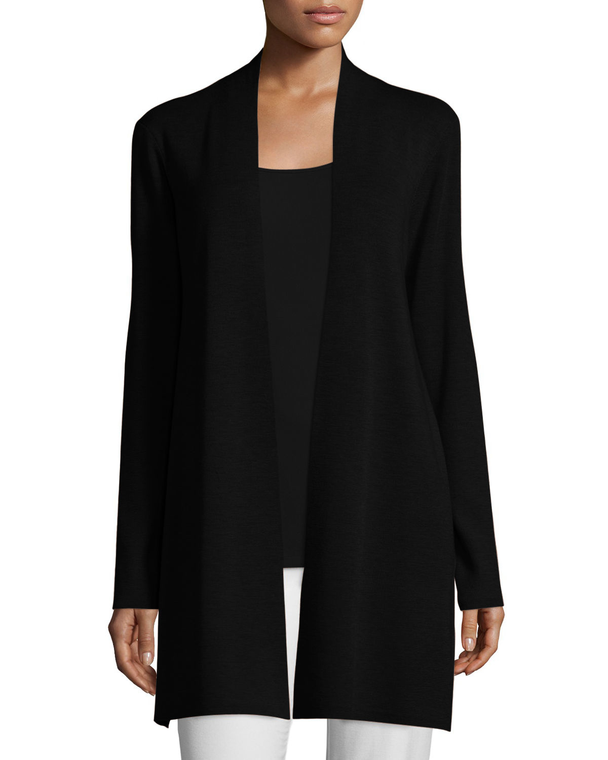 Eileen fisher Long Washable Merino Wool Cardigan in Black | Lyst