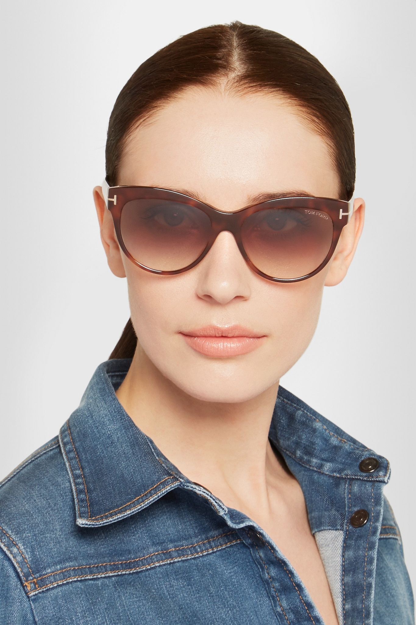 7869b3a1f6060 Tom Ford Lily Round-frame Acetate Sunglasses in Brown - Lyst