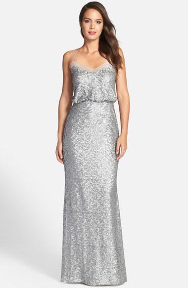 Badgley mischka Sequin Mermaid Gown in Metallic - Lyst