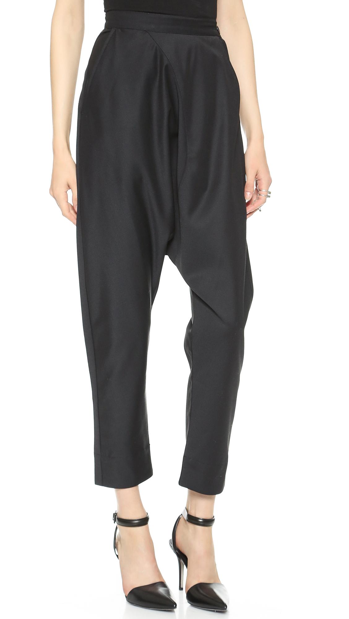 Lyst Oak Side Zip Harem Pants Black In Black