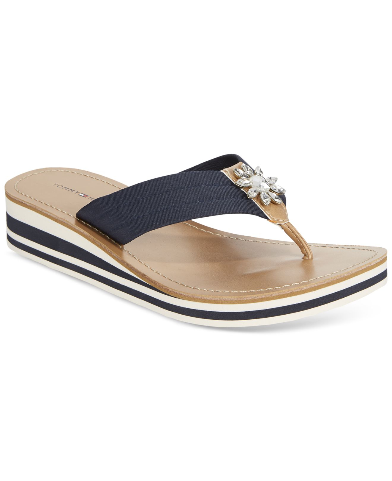71caa71e9b4 Lyst - Tommy Hilfiger Rayce Wedge Sandals in Blue
