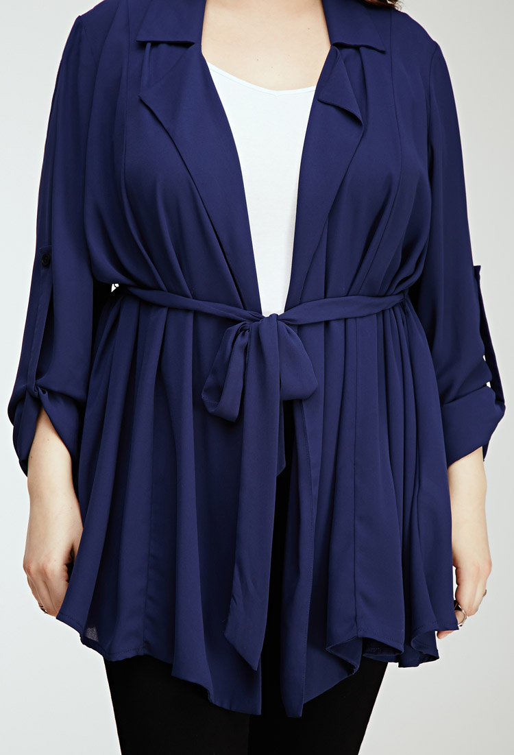 Forever 21 Plus Size Longline Chiffon Cardigan in Blue | Lyst