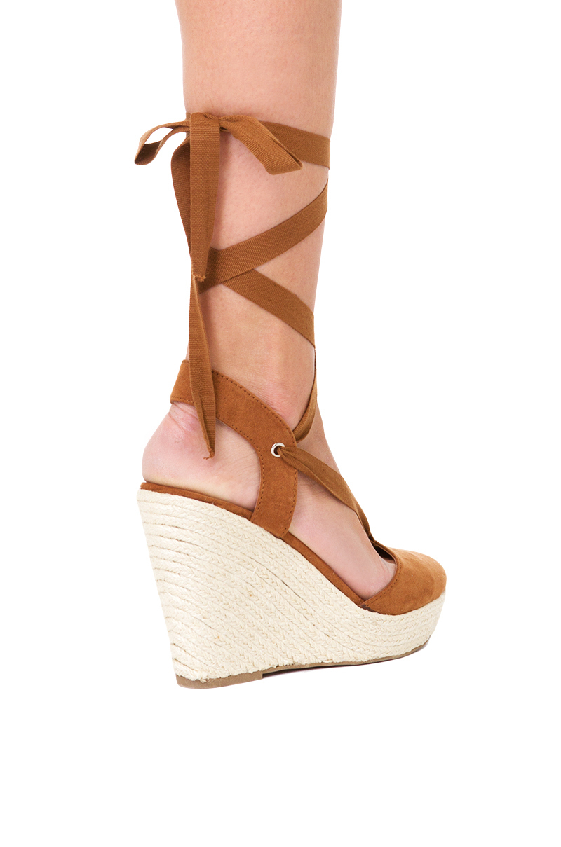 Lyst Akira Ankle Wrap Tan Espadrille Wedges In Brown