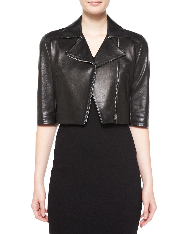 michael kors half sleeve crop leather jacket in black lyst. Black Bedroom Furniture Sets. Home Design Ideas