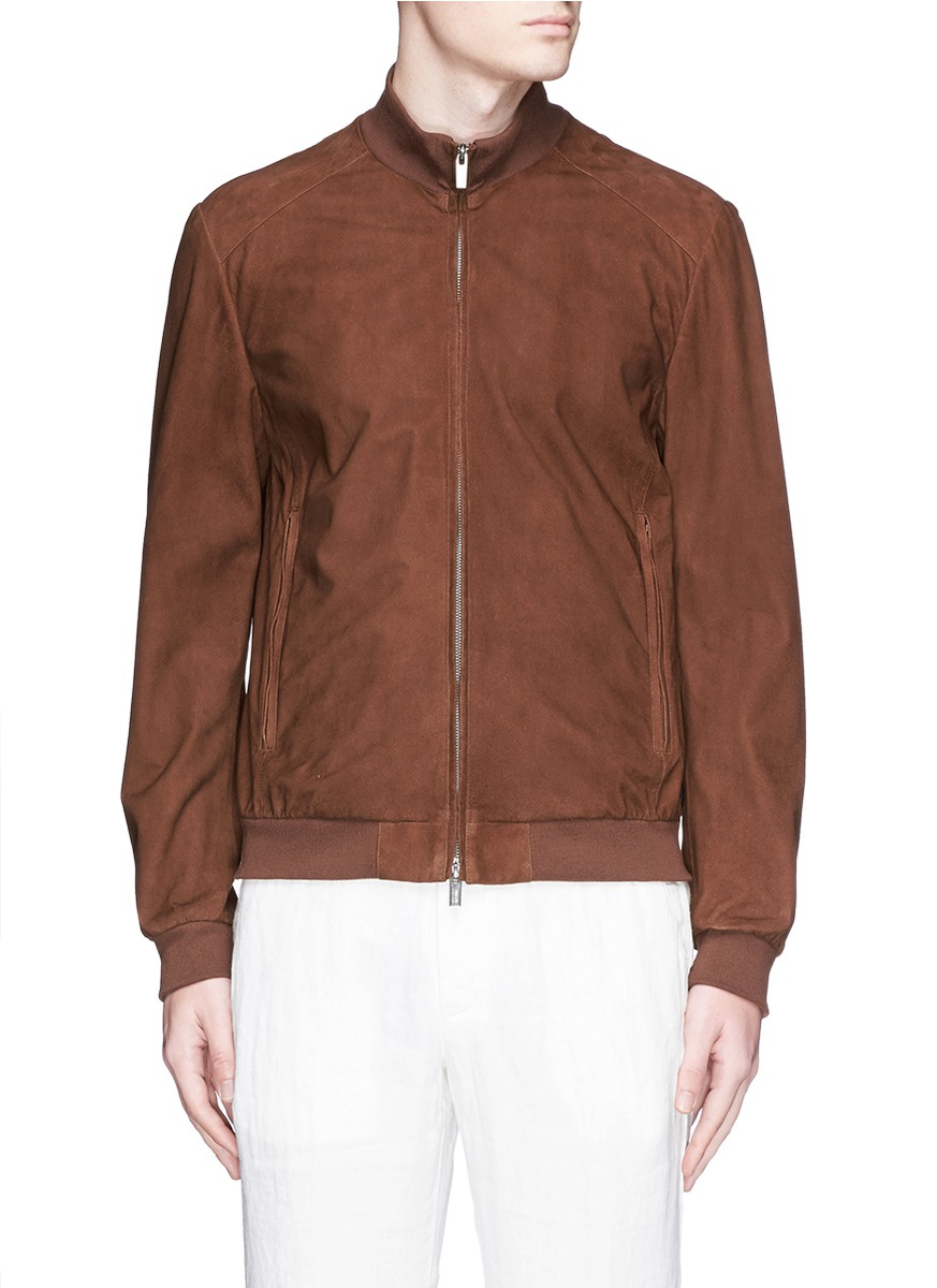 Armani Suede Blouson Jacket in Brown for Men