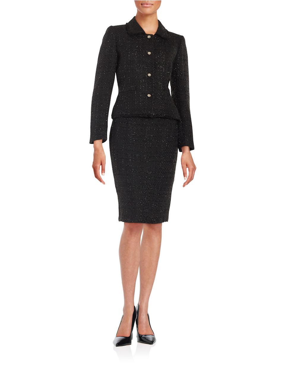 Lyst - Tahari Two-piece Metallic Tweed Jacket And Skirt ...