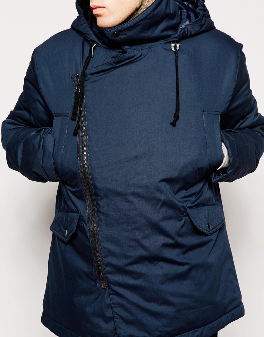 Asos Asymmetric Parka Jacket With Drawstring In Navy in Blue for ...