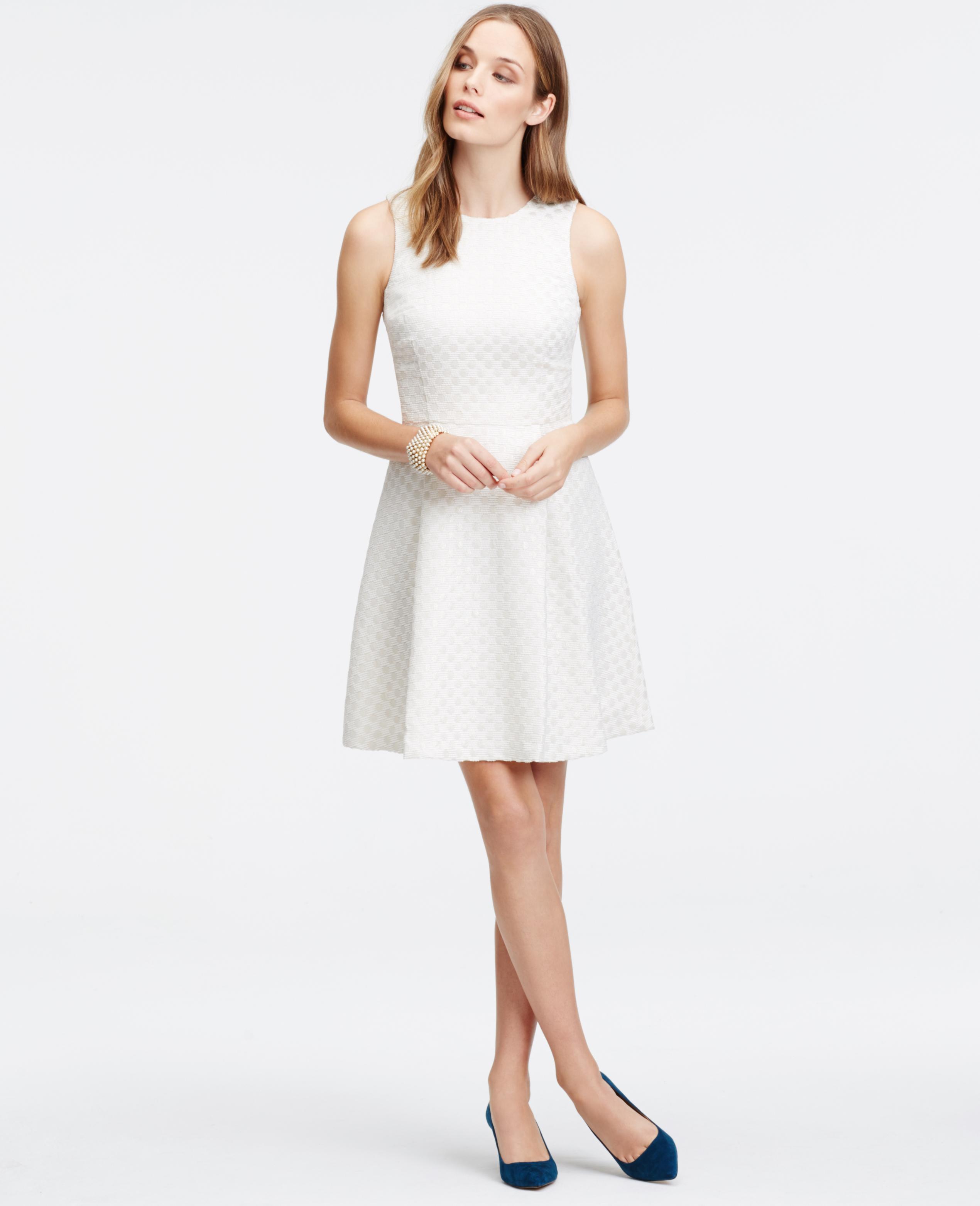 fc9d2f373f5e Ann Taylor Petite Shimmer Dot Jacquard Flare Dress in White - Lyst