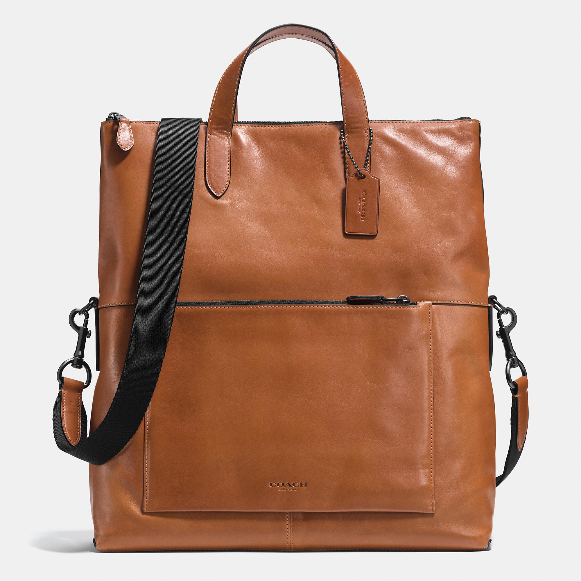 1a83abafeb0e ... get lyst coach manhattan foldover tote in sport calf leather in brown  5ba74 704dd