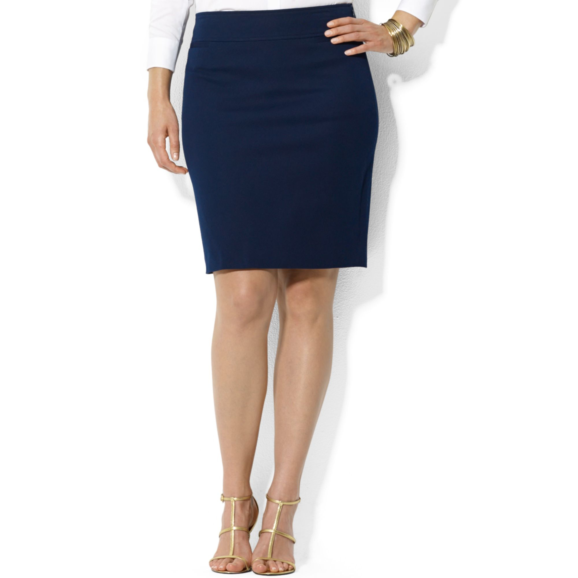 by ralph plus size stretch pencil skirt in