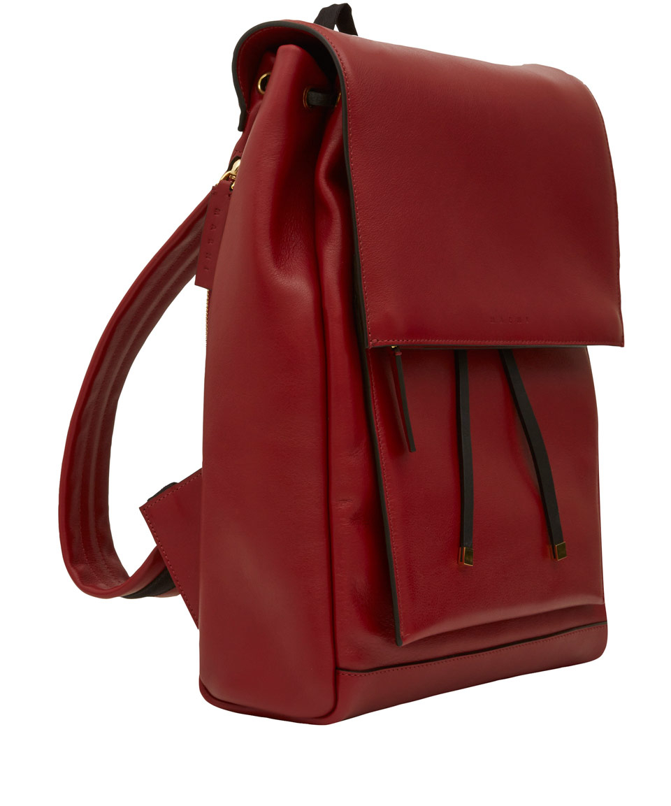 Marni Red Leather Backpack in Red for Men | Lyst