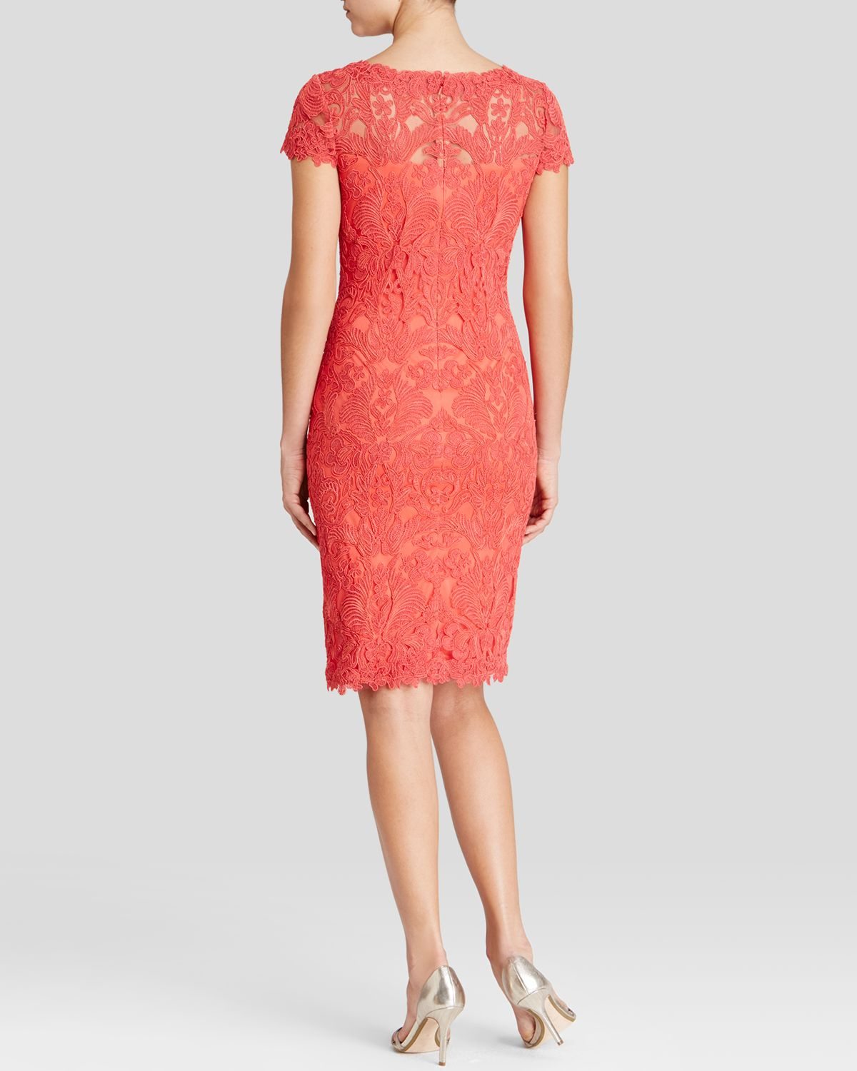 Tadashi shoji dress cap sleeve corded lace sheath in red for Bloomingdales dresses for wedding guests
