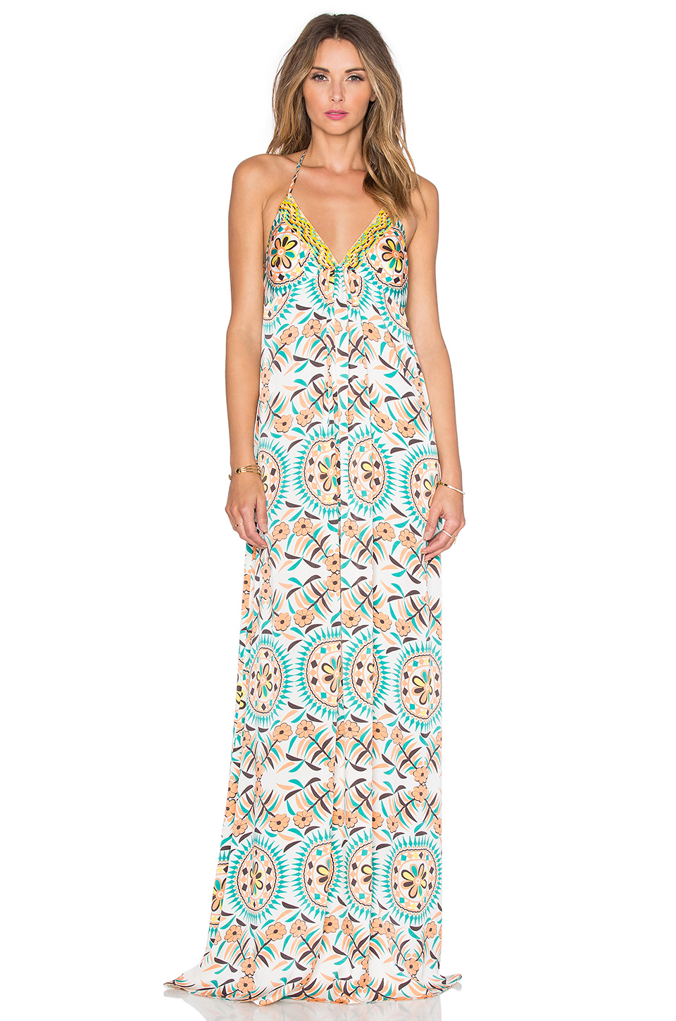 Pia pauro Patterned Maxi Dress in Blue | Lyst