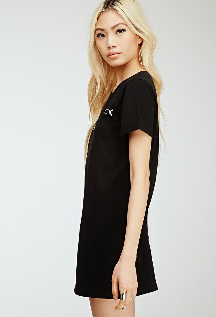 ccd114c378b Forever 21 Lbd Graphic T-shirt Dress in Black - Lyst