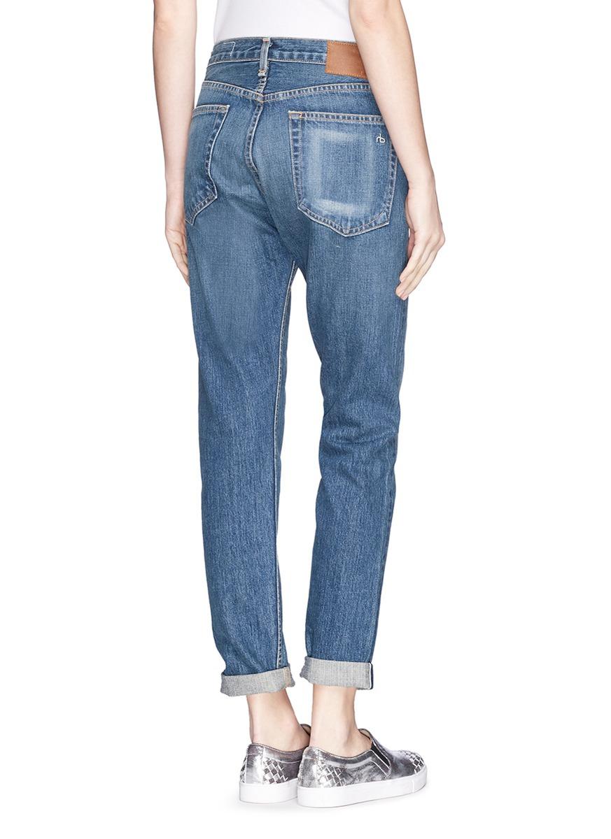 lyst rag bone 39 marilyn 39 high rise boyfriend jeans in blue. Black Bedroom Furniture Sets. Home Design Ideas