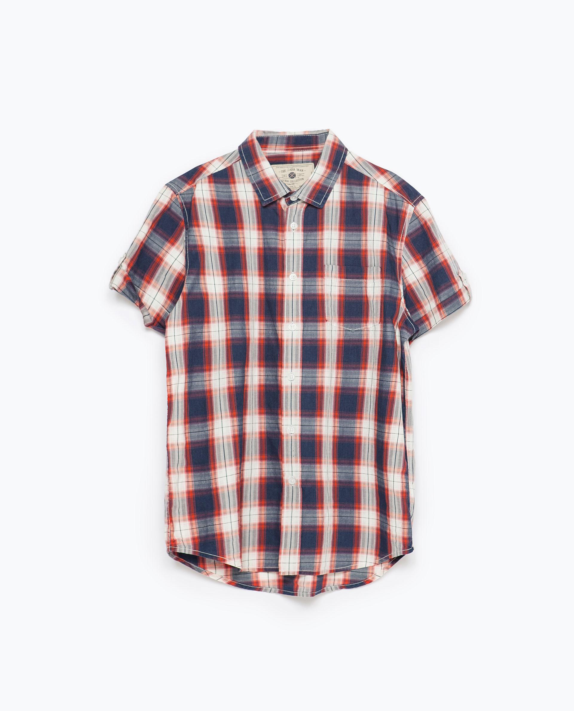Zara Check Shirt In Orange For Men Lyst