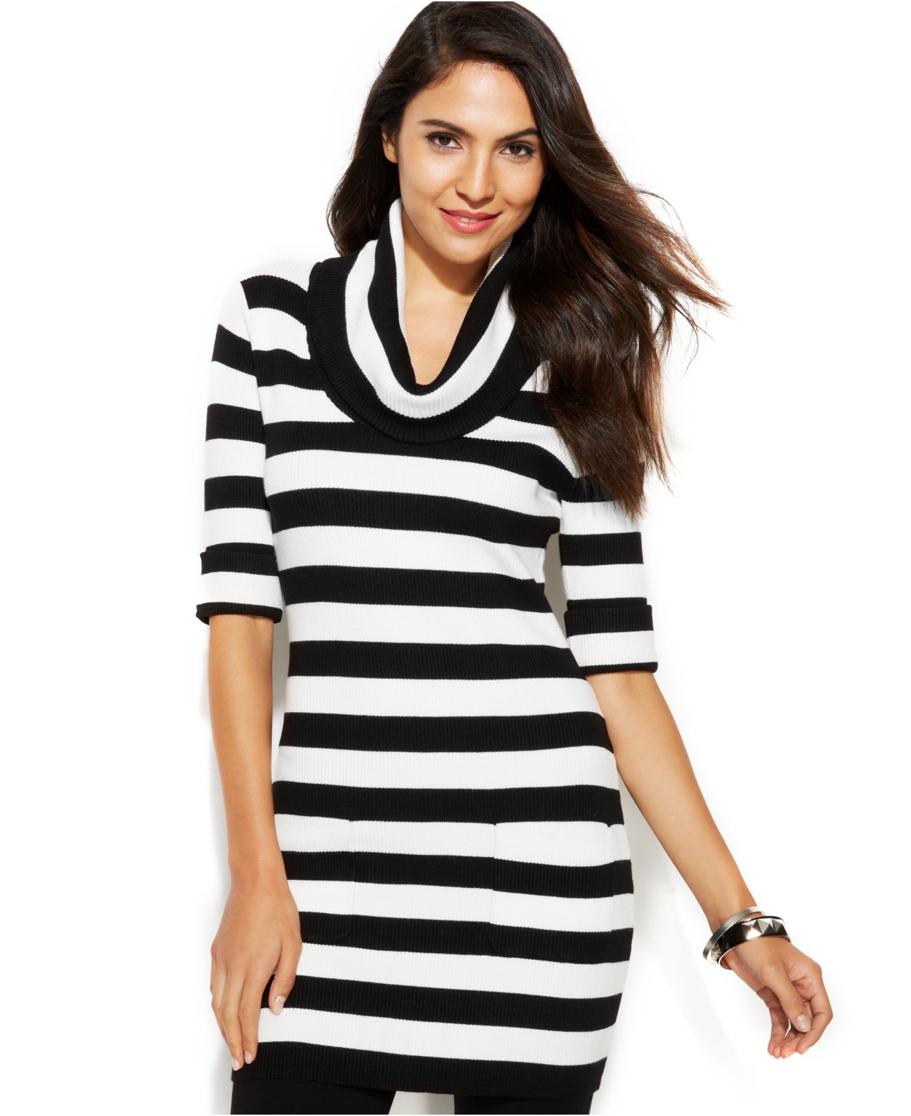 Inc international concepts Petite Short-Sleeve Cowl-Neck Striped ...