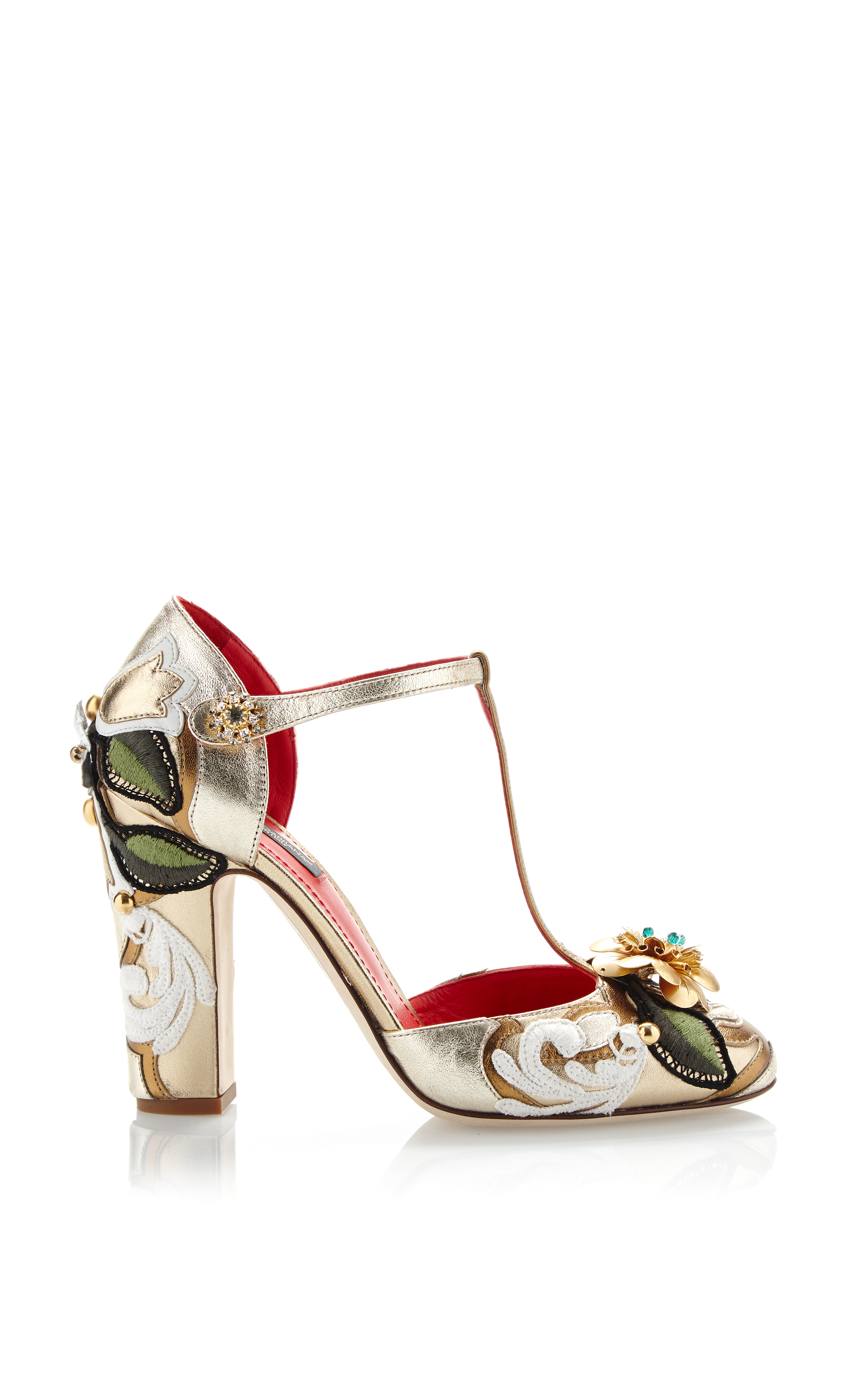 01c6d0a313a124 Lyst - Dolce   Gabbana Metallic Leather T-strap Pump with Embroidery ...