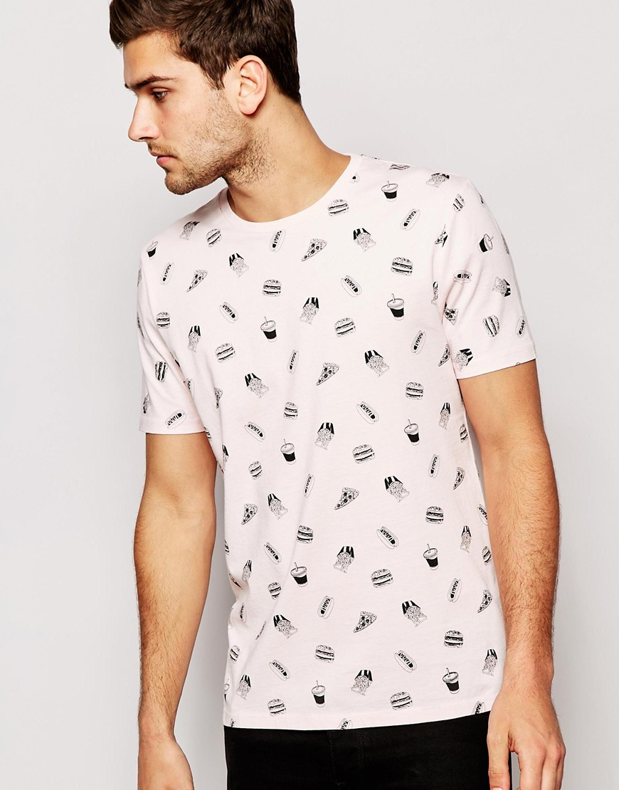 Asos T Shirt With All Over Burger Print And Relaxed Fit In