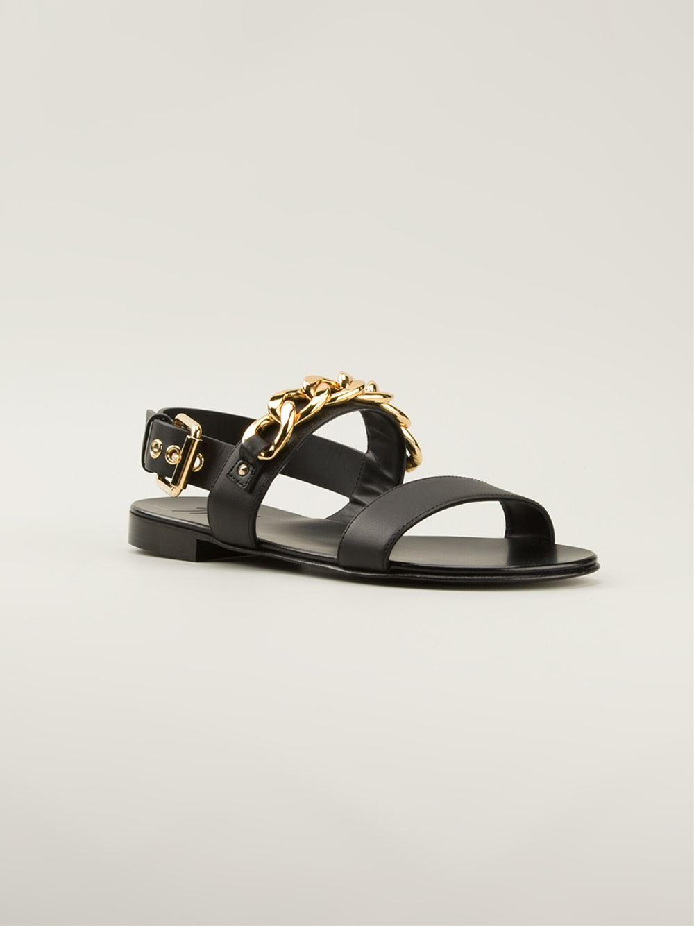 7c0671570010 Lyst - Giuseppe Zanotti Chain Trim Sandals in Black for Men