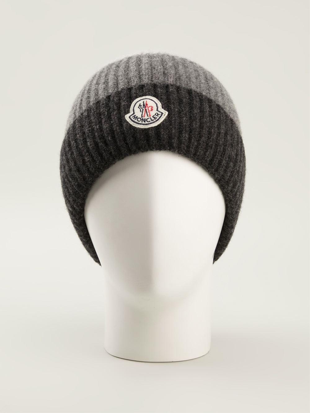 Lyst - Moncler Striped Beanie Hat in Black for Men 7a308701af9