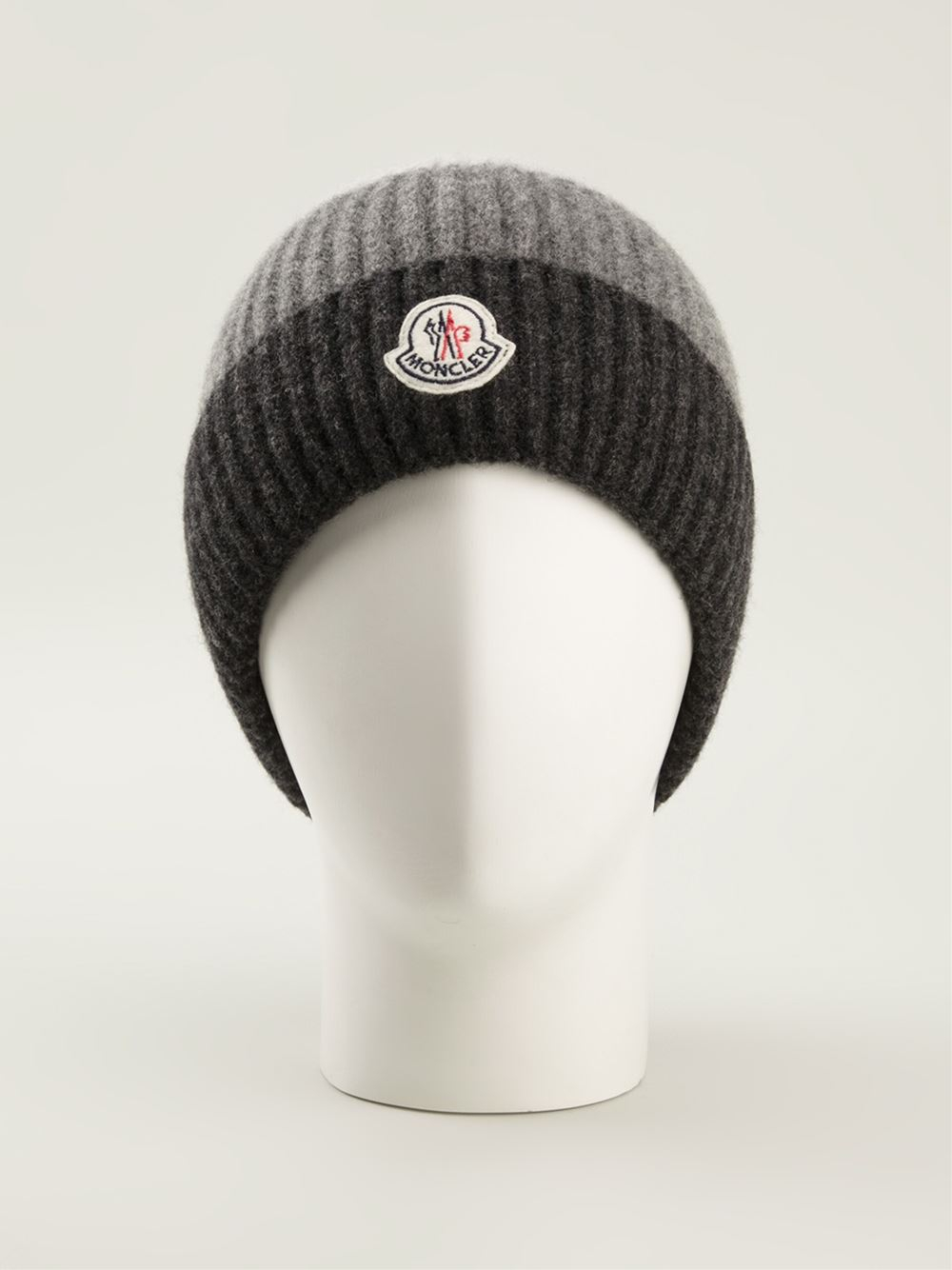 Lyst - Moncler Striped Beanie Hat in Black for Men ba46771b945