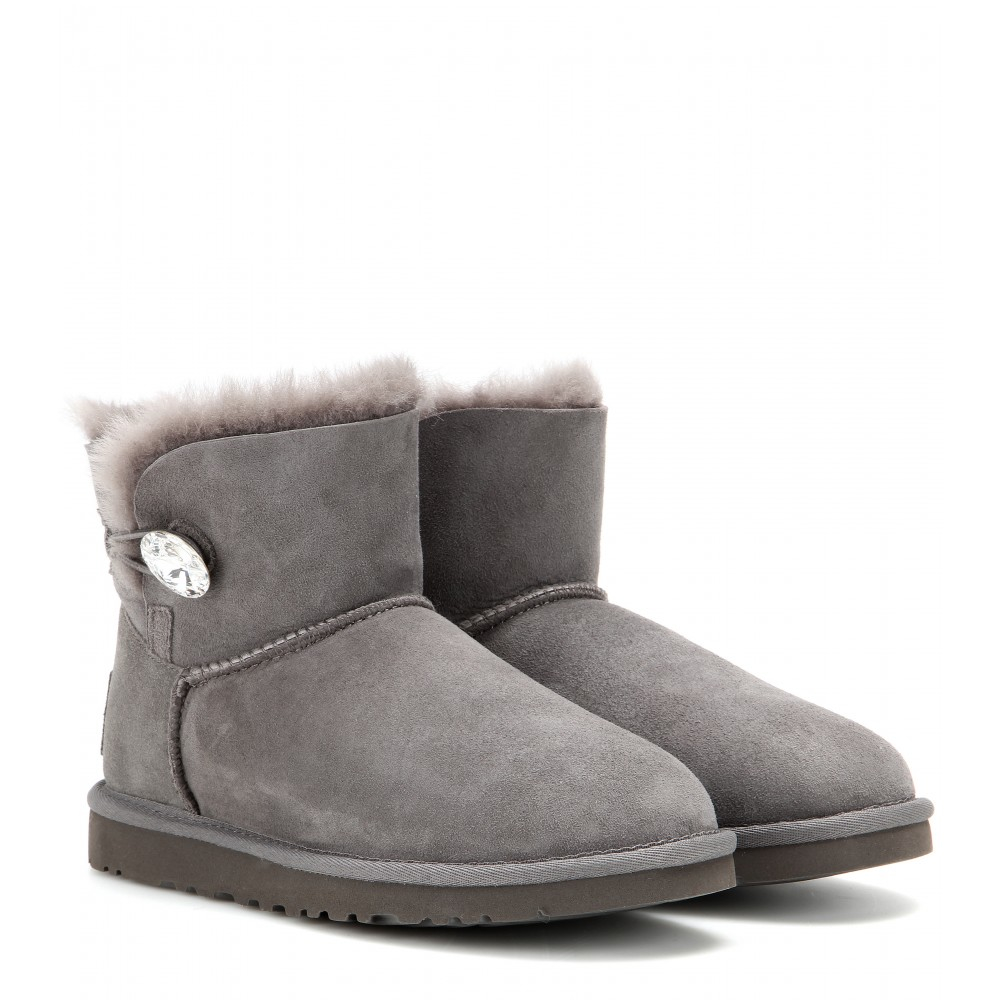 lyst ugg mini bailey button embellished boots in gray. Black Bedroom Furniture Sets. Home Design Ideas