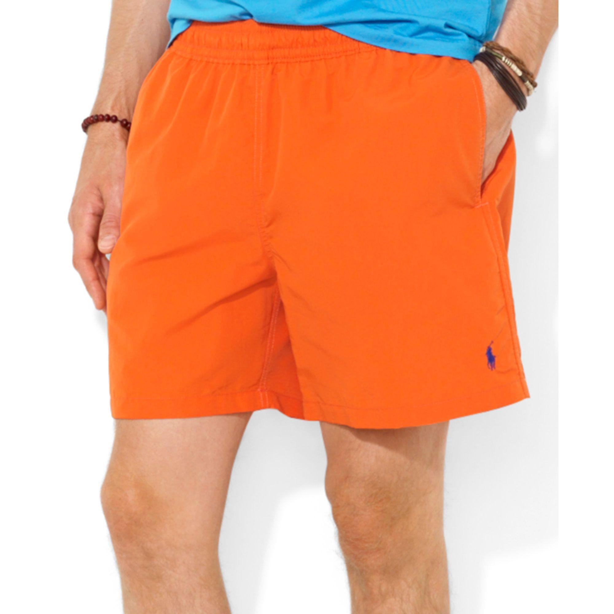 e5f769a052 Lyst - Ralph Lauren Polo Hawaiian Solid Swim Boxer in Orange for Men