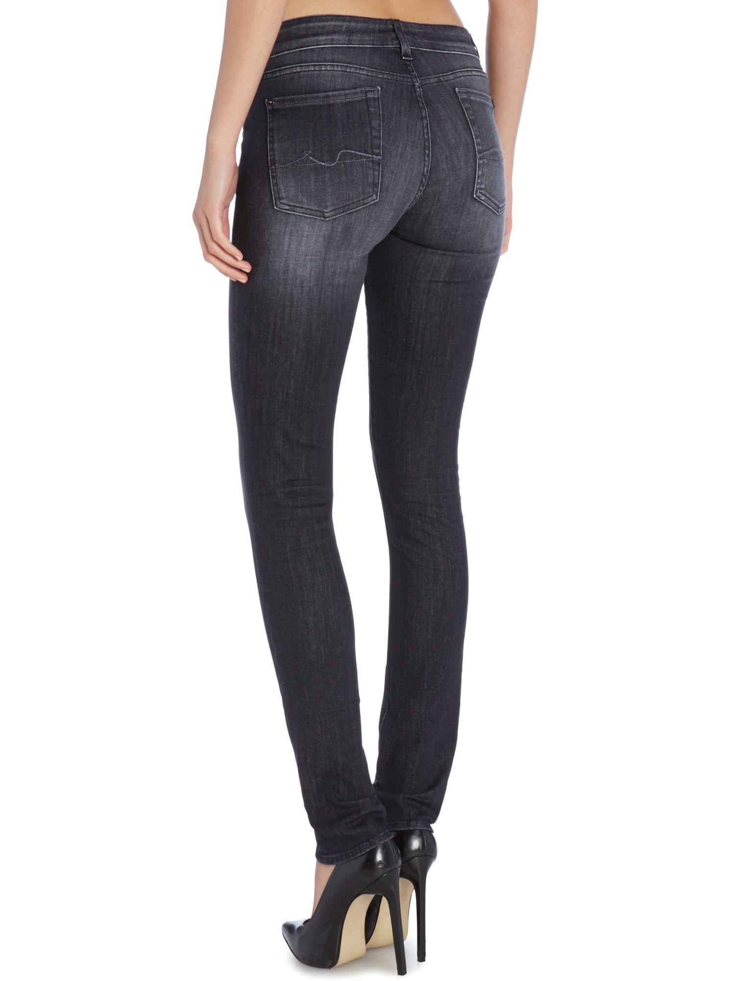 7 for all mankind Exclusive Cristen Skinny Jean In Washed Black in ...