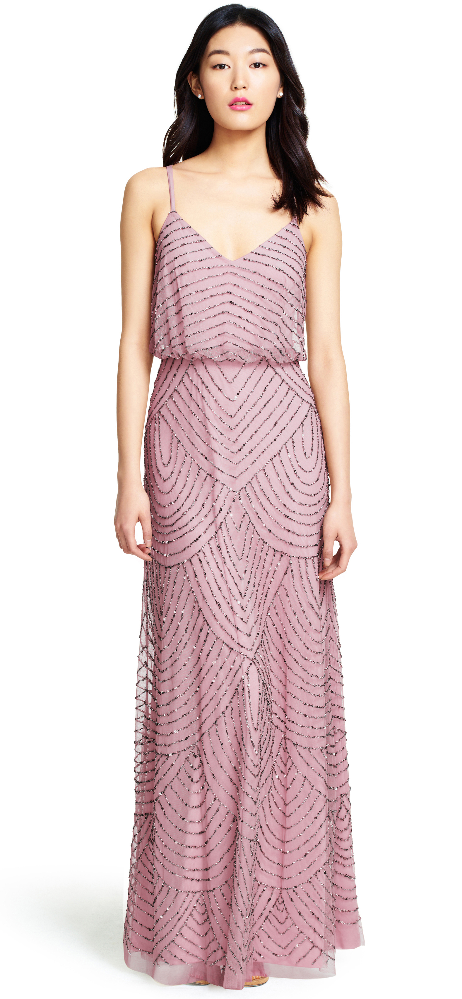 Adrianna Papell Art Deco Beaded Blouson Gown In Natural