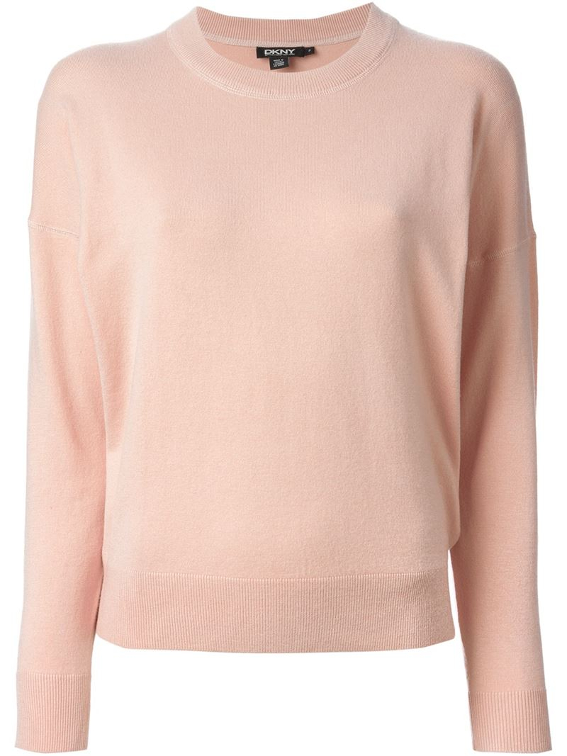 Dkny Cropped Sweater in Pink | Lyst