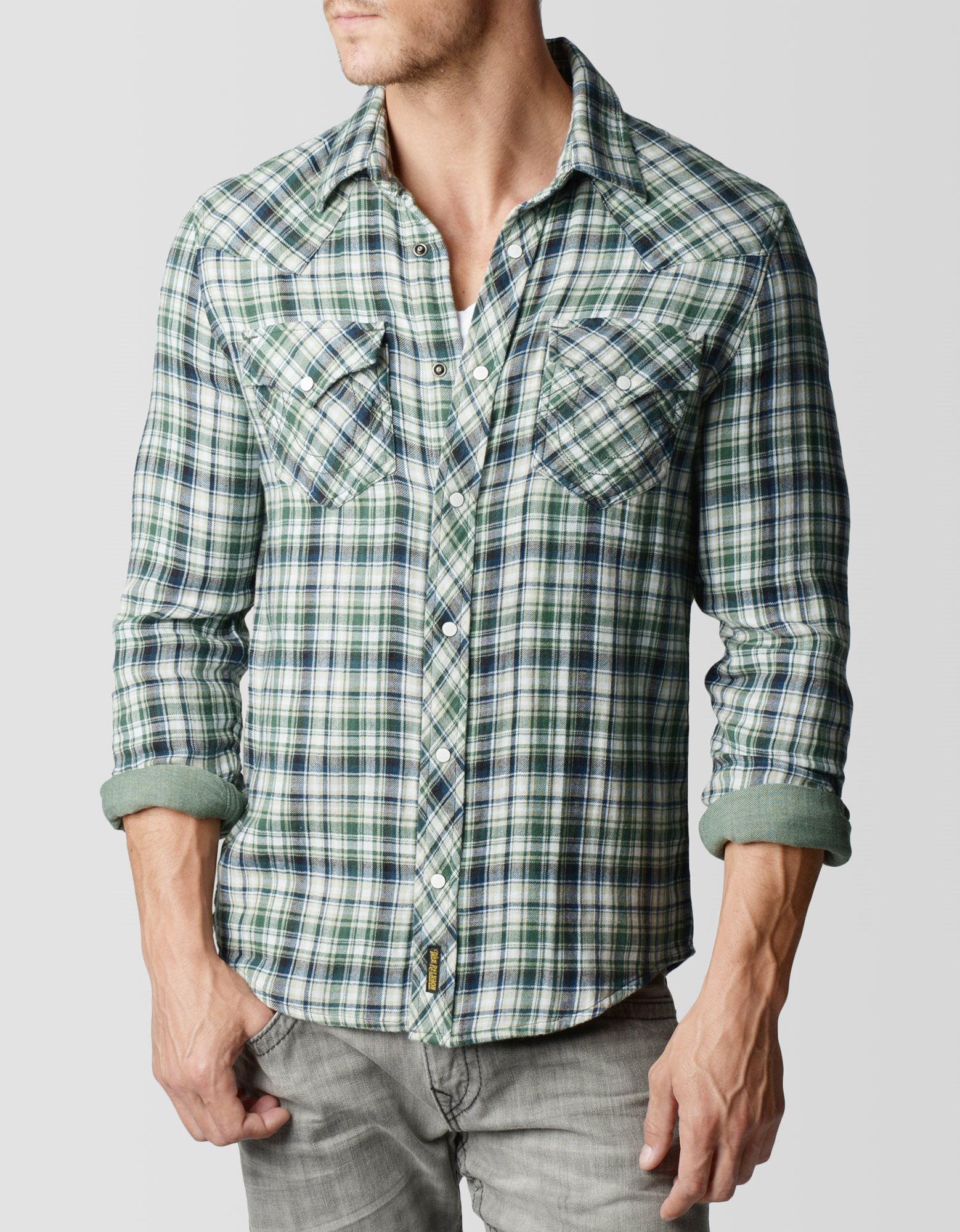 True religion Green Plaid Western Mens Shirt in Green for Men | Lyst