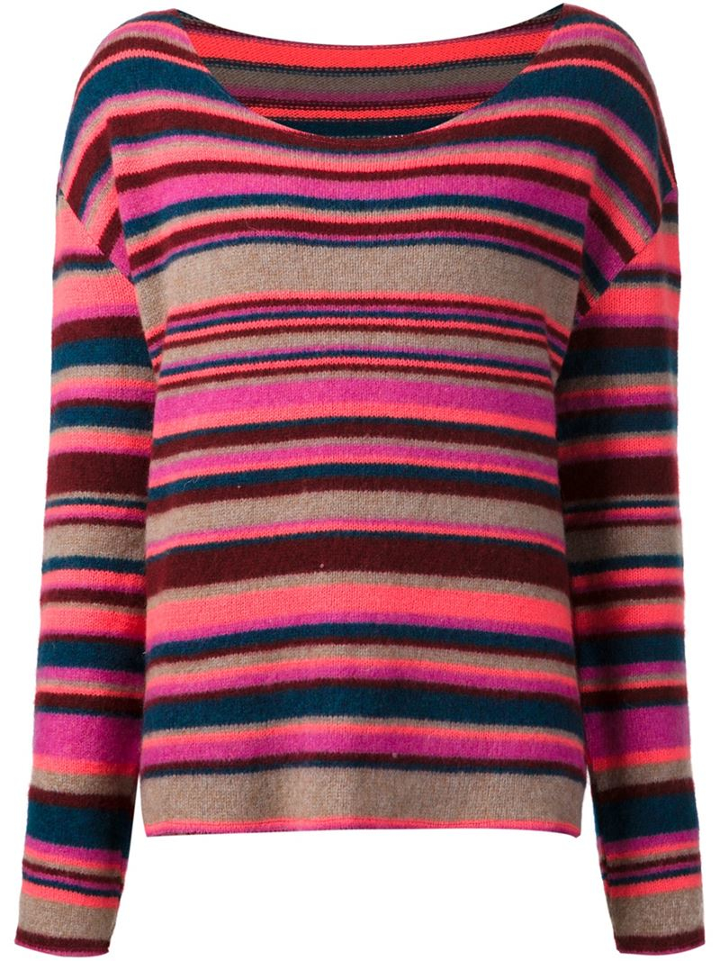 The elder statesman Striped Sweater in Pink | Lyst