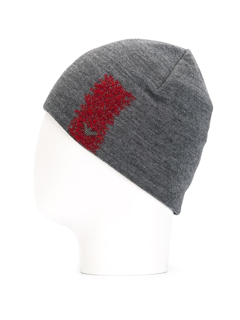 Lyst - Emporio Armani Wool Detail Beanie Hat in Gray for Men c5a87a76267